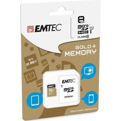 Emtec Gold+ microSDHC 8GB U1 with Adapter