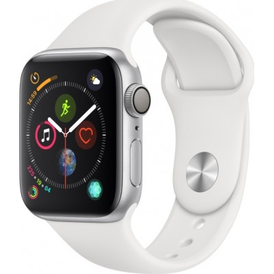 Apple Watch Series 4 GPS Silver Aluminium (44mm) Case, White Sport Band