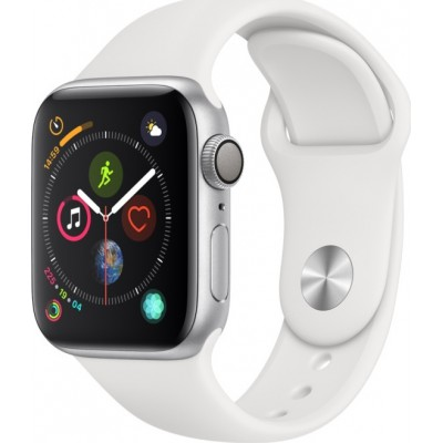 Apple Watch Series 4 Cellular Silver Aluminum (44mm), White Sport Band