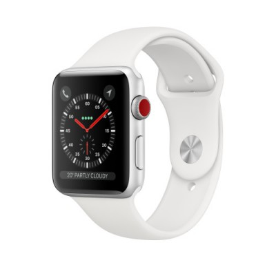 Apple Watch Series 3 Cellular Silver Aluminium 42mm White Sport Band