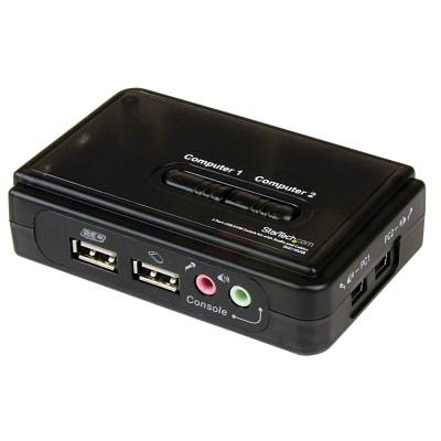 StarTech 2 Port Black USB KVM Switch Kit with Audio