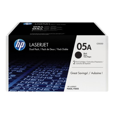 HP 05A Black 2-pack Toner (CE505D)