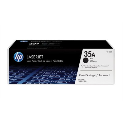 HP 35A Black Toner Cartridges (CB435AD), Twin Pack