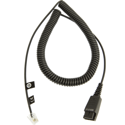 JABRA cable base QD to RJ10 (standard assignment, 2m, spiral)
