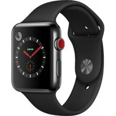 Apple Watch Series 3 Cellular Space Black Stainless Steel 42mm with Black Fluoroelastomer Sport Band
