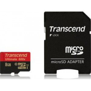 Transcend Ultimate 600x microSDHC 8GB U1 with Adapter