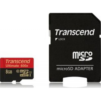 Transcend Ultimate 600x microSDHC 8GB U1 with Adapter