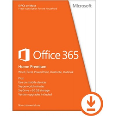 Microsoft Office 365 Home Premium All Languages Licence 1 Year Online (Downloadable)