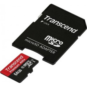Transcend Premium 400x microSDXC 64GB U1 with Adapter