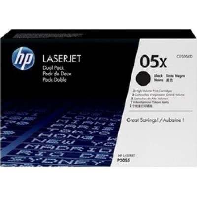HP 05X Black Toner High Yield 2-pack (CE505XD)